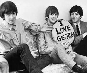 the beatles, black and white theme, and george harrison image