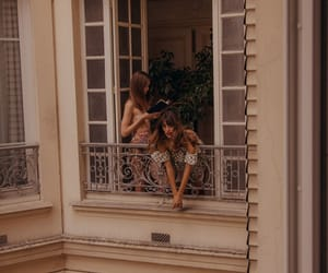 girl, vintage, and balcony image