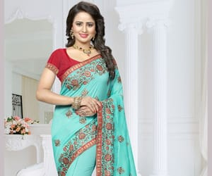 designer saree, blue saree, and silk saree image