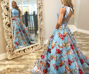 two pieces prom dress and floral prom dress image