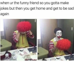 clown, depressed, and funny image