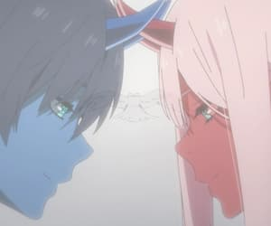 darling in the franxx, hiro, and zero two image