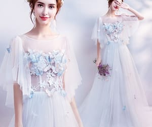 evening dress, tulle dress, and white dress image