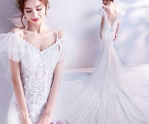 lace, white wedding dress, and mermaid wedding dress image