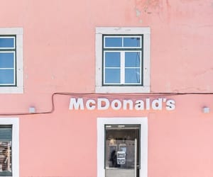 McDonalds, pink, and building image