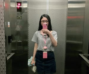 elevator, working, and selfie image