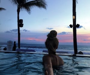 girls, palm trees, and pool image