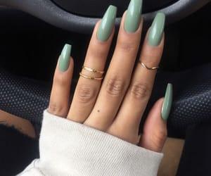 nails, green, and beauty image