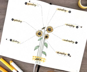 sunflowers, bujo, and bullet journal image