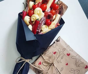 bouquet, salami, and bread image