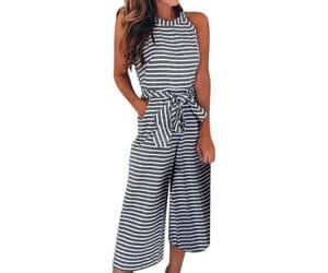 jumpsuit, black jumpsuit, and striped jumpsuit image