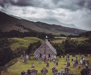 church, cloudy, and graveyard image