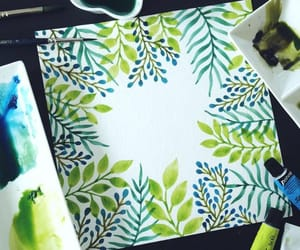 aquarel, green, and leaves image