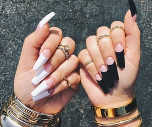 nails, jewelry, and black image