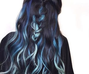 hair, black, and blue image