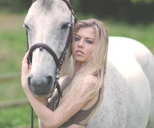 blonde hair, horse, and horse riding image