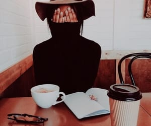 book, coffee shop, and girl image