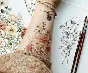 tattoo, drawing, and flowers image