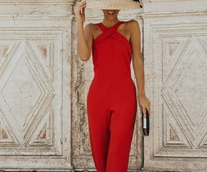 fashion, red, and jumpsuit image