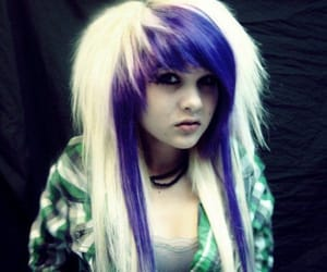colored hair, emo, and cute image