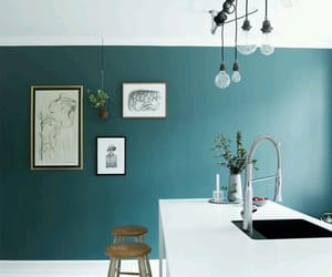 green, kitchen, and modern image