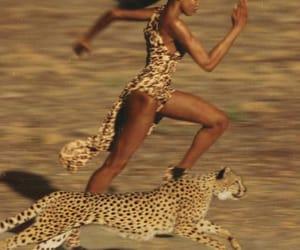 run, cheetah, and Naomi Campbell image