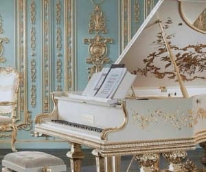 piano, gold, and music image