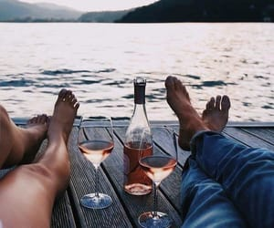 couple, relax, and wine image