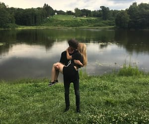 couple, kiss, and lake image