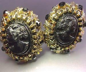 black, earrings, and ornate image