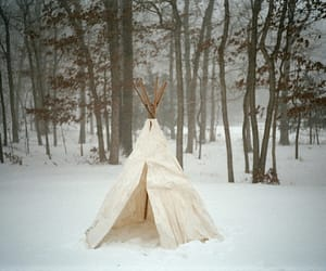 snow, teepee, and woods image