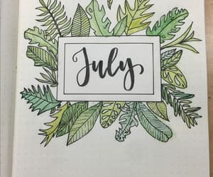 bullet journal, cover page july, and lugio image