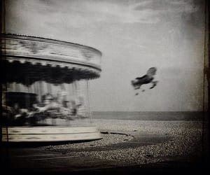 black and white, carousel, and horse image