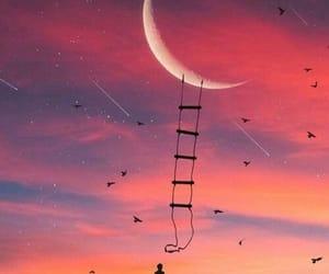 estrelas, lua, and por do sol image
