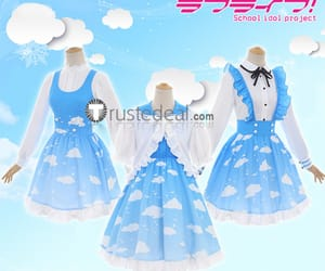 anime cosplay, love live cosplay, and sky blue dress image