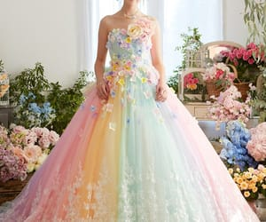 dress, rainbow, and wedding image