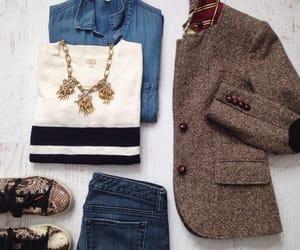 blazer, statement necklace, and denim shirt image