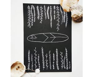 black and white, surf, and drawing image