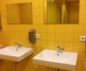 yellow, aesthetic, and bathroom image