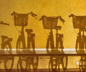 yellow, bike, and shadow image
