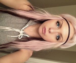 blue eyes, pink hair, and girl image