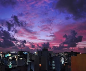 apartments, purple sky, and blue image