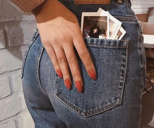 jeans, nails, and polaroid image