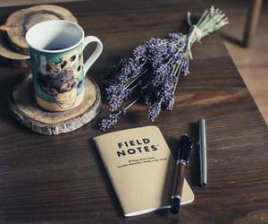 coffee break, lavender, and stationery image