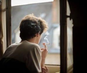 boy, smoke, and cigarette image