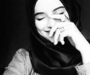 hijab, beautiful, and black and white image