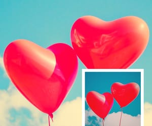 balloons, grunge, and hearts image