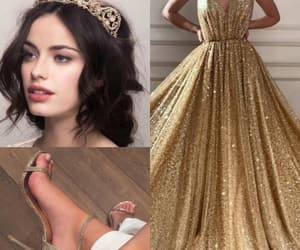 dress, gold, and hair image