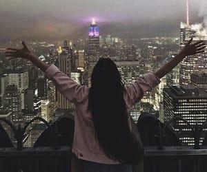city, girl, and lights image
