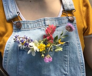 fashion, flower, and overalls image